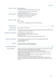 Be Mechanical Engineering Resume Experienced Mechanical Engineer Resume