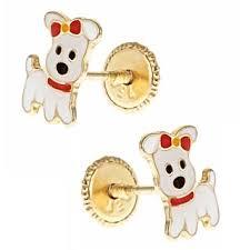 children s 14k gold earrings 14k gold enamel puppy dog earrings for children with push on 14k