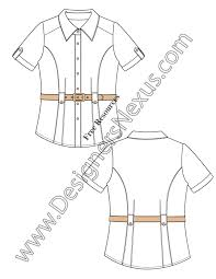 v25 cuff sleeve belted blouse flat fashion sketch top planos