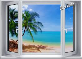 28 stick on wall mural tropical island resort peel and stick on wall mural tropical beach window 1 one piece canvas peel amp stick