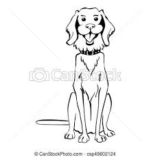 vector illustration of vector sketch funny golden retriever dog