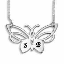 initials jewelry initials necklace lacy butterfly sterling silver namefactory