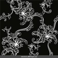 retro ornament background in black and white colors vector free