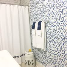 Blue And White Bathroom by Blue And White Bathroom With Ikat Print Wallpaper By Thibaut Our