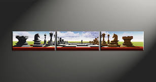 3 piece colorful modern pawns photo canvas