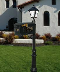 light post with address sign series mailbox post solar l package w 3 address plates