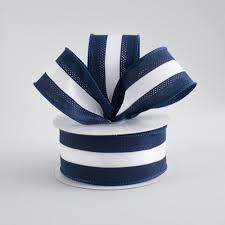 navy blue and white striped ribbon 1 5 satin team stripe ribbon navy white 10 yards rn5271cd