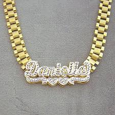Real Gold Necklace With Name 3d Nameplates Necklace Real 10k Yellow Gold 8 Mm Watch Band Style