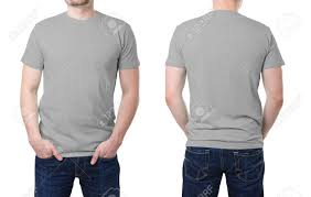 gray t shirt on a young man template on white background stock