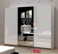 White High Gloss Bedroom Furniture Wardrobe Fox With Mirror Sliding Doors With High Gloss Various
