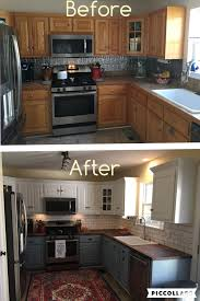 before and after 25 budget friendly kitchen makeover ideas can t wait to remodel my kitchen two toned cabinets valspar cabinet enamel from lowes successful kitchen updating best cabinet paint by far