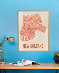 New Orleans Neighborhoods Map by New Orleans Neighborhood Map Poster Or Print Original Artist