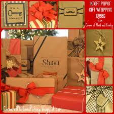 corner of plaid and paisley kraft paper christmas gift wrapping ideas