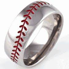 baseball wedding ring men s titanium baseball wedding ring with color stitching ring