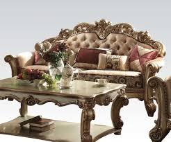 Traditional Fabric Sofas 6290 00 Vendome 3 Pc Fabric Sofa Set Gold Patina Bone Sofa