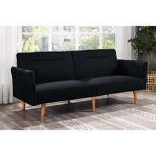 Retro Futon Covers Amazon Com Dhp Brent Futon Black Linen Kitchen U0026 Dining