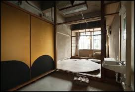 japanese home decor for bathroom with bamboo divider and stone