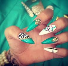 stiletto nails with a aqua white gold color nail design beauty