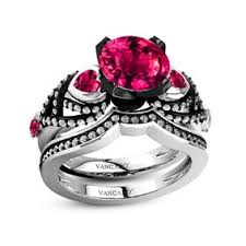 Black And Pink Wedding Rings by Gothic Wedding Rings Gothic Wedding Rings