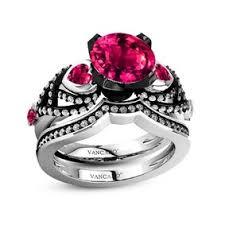 black and pink wedding ring sets wedding rings wedding rings