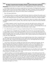 Flag Day Reading Comprehension Worksheets Reading Comprhension Romulus And Remus Romulus And Remus