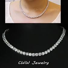 white gold crystal necklace images Luxury sparkling white gold plated 0 8 cm big carat cubic zirconia jpg