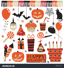 collection halloween party objects pumpkins cake stock vector