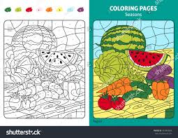 seasons coloring page kids august monthprintable stock vector