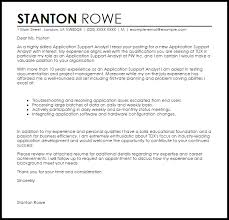cover letter for application application support analyst cover letter sle livecareer