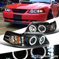 ebay mustang headlights ford 99 04 mustang replacement black led halo projector headlights