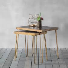 gold nesting coffee table bronx geometric tiled nesting side tables gold nesting tables