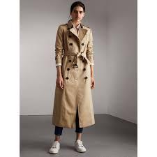 long cotton gabardine trench coat in honey women burberry