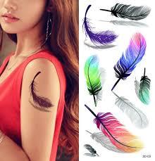 tattoo bulu 3d tattoo stiker bulu warna warni dengan shadow body art 3d sementara