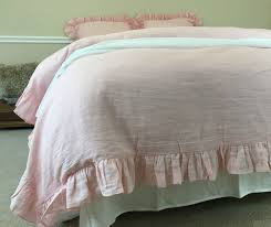 delicate ballet slipper pink duvet cover in natural linen