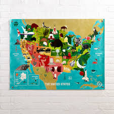 United States Map Poster by The United States Banner The Land Of Nod
