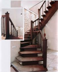 Modern Design Staircase Natural Accent Brown Wooden Staircase Design With Wood Banister