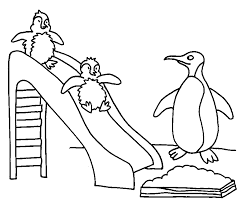 babies penguin garden coloring animal pages