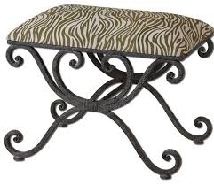 uttermost 23089 aleara wrought iron small bench eclectic