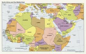Map Of Africa Political by Large Political Map Of North Africa And The Middle East With