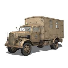 opel truck ww2 opel blitz 3t truck with kofferaufbau 21 pzdiv 3d model