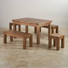 Dining Table Sets Oak by Rustic Oak Extending Dining Table 2 Benches And 2 Stools