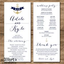 wedding program dimensions nautical wedding program order of ceremony ceremony program