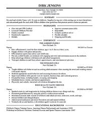 cover letter resume examples for nanny position resume examples