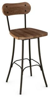 rustic swivel stool with wood seat and backrest industrial bar