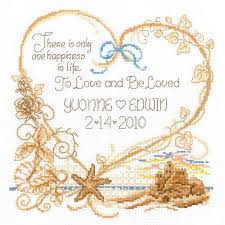 seaside wedding wedding record counted cross stitch kit 7 5 x8 14 cou