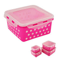 locking square airtight food storage container set of 8 pink