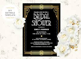 bridal shower invitation templates bridal shower invitation template diy great gatsby bridal