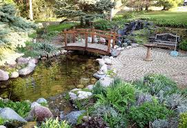 Backyard Ponds Ideas Backyard Pond Ideas With Bridge And Bench And Exterior