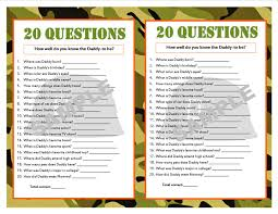 20 questions camouflage printable party game military baby