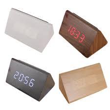 triangle alarm led wood clock digital temperature calendar alarm